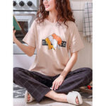 New              Cute Animal Print Elastic Waist Pants Short Sleeve Loose Pajamas Sets