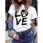 New              LOVE Print Round Neck Short Sleeve Casual T-shirts For Women