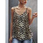 New              Leopard Print Sleeveless Straps V-neck Casual Slip Tank Tops