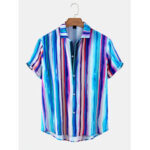 New              Multicolor Vertical Stripes Mens Lapel Collar Casual Mens Short Sleeve Shirts