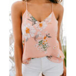 New              Casual Floral Print V-neck Sleeveless Holiday Wild Tank Top