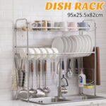 New              95x82x25.5cm 3 Tiers Over The Sink Dish Drying Rack Shelf Stainless Kitchen Cutlery Holder