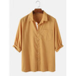 New              Mens 100% Cotton Turn Down Collar 3/4 Sleeve Shirts