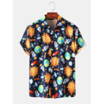 New              Mens Space Print Cartoon Pattern Funny Short Sleeve Shirts