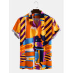New              Mens Irregular Multi-Color Print Light Casual Revere Collar Short Sleeve Shirts