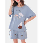 New              Cute Cartoon Print Short Sleeve Loose Two Piece Pajama Set For Women