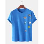 New              Cotton Funny Cartoon Rocket Print Loose Round Neck Short Sleeve T-Shirts
