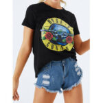 New              Floral Print Round Neck Short Sleeve Casual Brief T-shirts