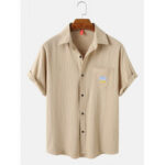 New              Mens Weather Embroidered Cotton Casual Short Sleeve Shirts With Pocket