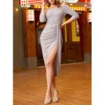 New              Women Elegant Side Split Off Shoulder Three Quarter Sleeve Ruched Dress
