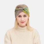 New              Women Tie-dyed Cross Headdress Elastic Outdoor Sport Wide Brim Hair Band Headband