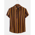 New              Mens Colorful Striped Henley Collar Short Sleeve Shirts