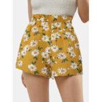 New              Daisy Print High Waist Women Casual Shorts