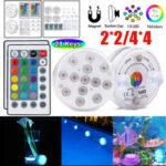 New              2PCS/4PCS LED Underwater Light Waterproof RGB Swimming Pool Lamp + 24Keys IR Remote Control