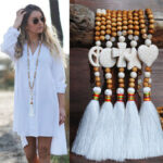 New              Bohemian White Tassel Necklace Ethnic Geometric Heart Star Cross Pendant Long Necklace