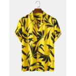 New              Bangood Designed Mens Tropical Leaf Print Short Sleeve Shirts