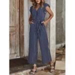 New              Women V-neck Tie Waist Stripe Sleeveless Ruffle Wide Leg Jumpsuit