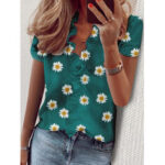 New              Daisy Print Ruffled Collar T-shirts Casual Loose Short Sleeve Blouse