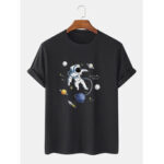 New              100% Cotton Designer Astronaut Print Short Sleeve Breathable T-Shirts
