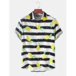 New              Mens Design Stripe Fruit Lemon Print Lapel Collar Sleeve Casual Shirts