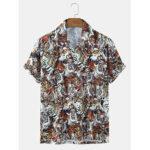 New              Mens Tiger Print Revere Collar Short Sleeve Shirts