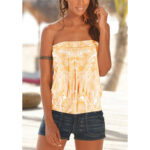 New              Leaf Print Strapless Sleeveless Summer Holiday Pleated Cami