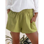 New              Women Casual Solid Color Elastic Waist Pocket Shorts