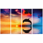 New              4Pcs/set Dolphin Sunset Sea Wall Decorative Paintings Canvas Print Art Pictures Frameless Wall Hanging Decorations for Home Office