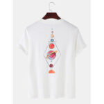 New              Colorful Planet Cartoon Back Print Round Neck Cotton Short Sleeve T-Shirts