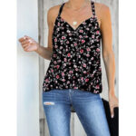 New              Black Floral Print Halter V-neck Sleeveless Tank Top