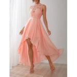 New              Delicate Crochet Lace Patchwork High Low Hem Maxi Dress