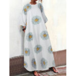 New              Women Small Daisies Print Three Quarter Sleeve Casual Loose Maxi Dress with Pockets