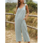 New              Women Casual Solid Color V-neck Patchwork Straps Wide Leg Jumpsuit