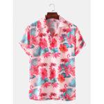New              Mens Flamingo Printed Light Casual Revere Collar Short Sleeve Shirts