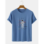 New              Cartoon Astronaut Pattern Script Print Short Sleeve Cotton Breathable T-Shirts