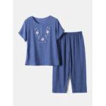 New              Women Floral Print Loungewear Loose Breathable Short Sleeve Pajamas