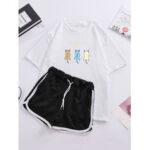 New              Women Cartoon Animal Print Pajamas Short Set Outwork Loungewear With Sports Shorts