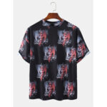 New              Mens 100% Cotton Cartoon Figure Print Casual T-Shirts