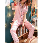 New              Plus Size Faux Silk Pajamas Two Pieces Loungewear With Long Pants