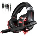 New              ONIKUMA K2A Gaming Headset LED Lights Noise Canceling Mic Wired Stereo Gaming Headphones Headset for PS4 Xbox Switch PC Laptop