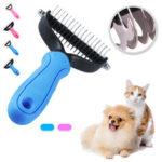 New              Pet Comb Dual Side Dematting Rake Cleaning Slicker Pet Brush Puppy Dog Cat Fur Shedding Brush