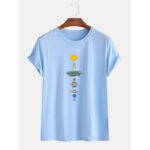 New              Mens Planet Print Round Neck Casual Short Sleeve T-Shirts