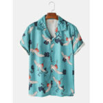 New              Mens Crane Printed Revere Collar Light Casual Short Sleeve Shirts