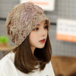 New              Flowers Beanie Embossed knitting Cutout Caps