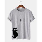 New              100% Cotton Cartoon Cat Print Round Loose Neck Short Sleeve T-Shirts