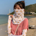New              Women Sunscreen Outdoor UV Protection Ice Silk Sleeve Arm Guard Cover Face Ear Hanging Breathable Veil Mask