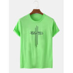 New              Cross & Text Print Short Sleeve Round Neck Loose T-Shirts