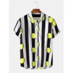 New              Mens Striped Lemon Print Turn Down Collar Short Sleeve Shirts