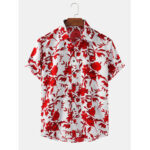 New              Mens Floral Printed Breathable Casual Short Sleeve Shirts