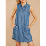 New              Women Daily Casual Sleeveless Lapel Streetwear Denim Dress